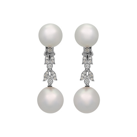 Assael 18k White Gold Diamond + South Sea Pearl Earrings III