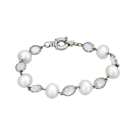 Assael 18k White Gold Moonstone + South Sea Pearl Bracelet I