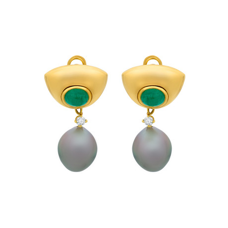 Assael 18k Yellow Gold Emerald + Tahitian Pearl Earrings
