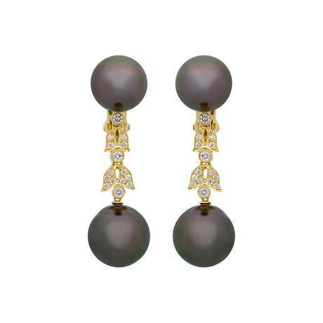 Assael 18k Yellow Gold Diamond + Tahitian Pearl Earrings I