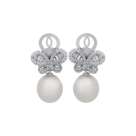 Assael 18k White Gold Diamond + South Sea Pearl Earrings VI