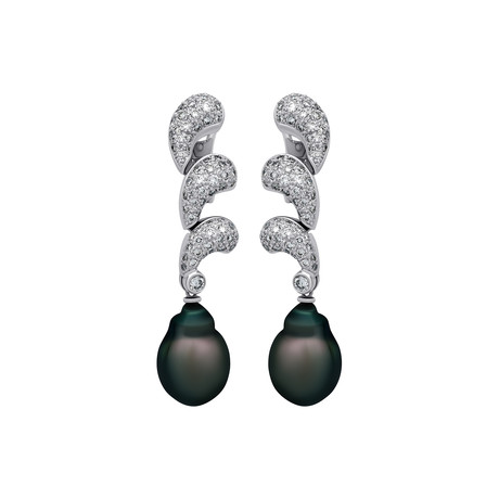 Assael 18k White Gold Diamond + Tahitian Pearl Earrings I