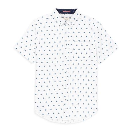 Boat Print Sport Shirt // White (S)