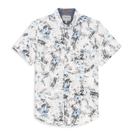 Stretch Floral Print Sport Shirt // White (S)