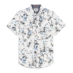 Stretch Floral Print Sport Shirt // White (M)