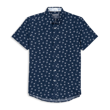 Mircrotouch Stretch Palm Leaf Print Sport Shirt // Navy (S)