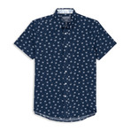 Mircrotouch Stretch Palm Leaf Print Sport Shirt // Navy (XL)