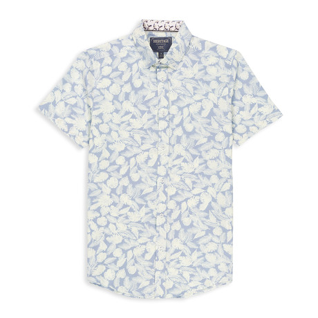 Microtouch Stretch Tropical Print Sport Shirt // Light Blue (S)