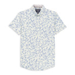 Microtouch Stretch Tropical Print Sport Shirt // Light Blue (M)