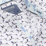 Microtouch Stretch Heron Print Sport Shirt // White (S)