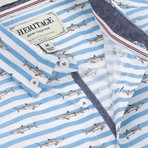 Shark Stripe Print Sport Shirt // Blue (2XL)