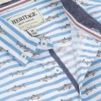 Shark Stripe Print Sport Shirt // Blue (XL)