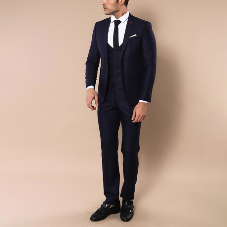 Ike 3-Piece Slim-Fit Suit // Purple (Euro: 44)