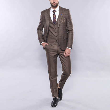 Wakefield 3-Piece Slim Fit Suit // Brown (Euro: 42)