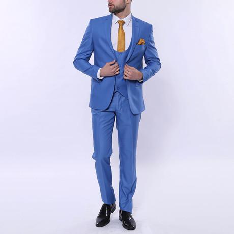 Zedd 3 Piece Slim Fit Suit // Light Blue (Euro: 44)