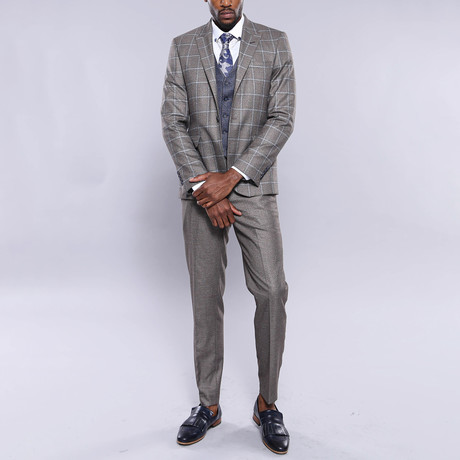 Buck 3-Piece Slim Fit Suit // Brown (Euro: 44)