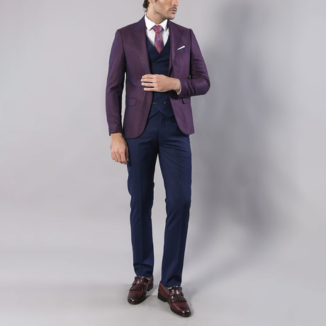 David 3-Piece Slim Fit Suit // Blue + Purple (Euro: 44)