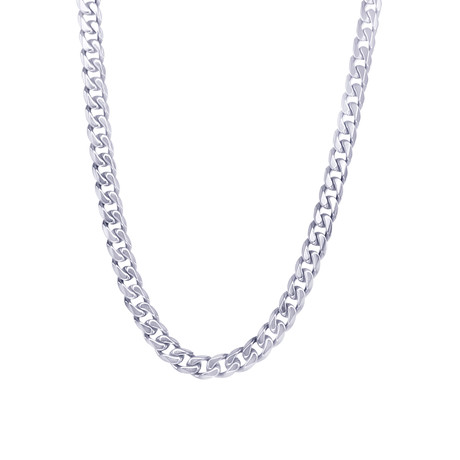 "Polished Stainless Steel Curb Link Necklace // 4.6mm // Silver (22"")"