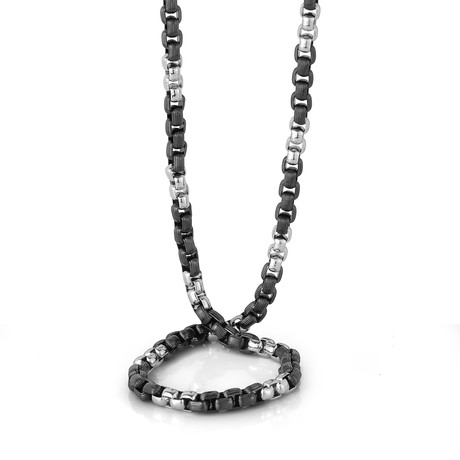 "Round Box Alternating Necklace // 6.5mm // Black + Silver (22"")"