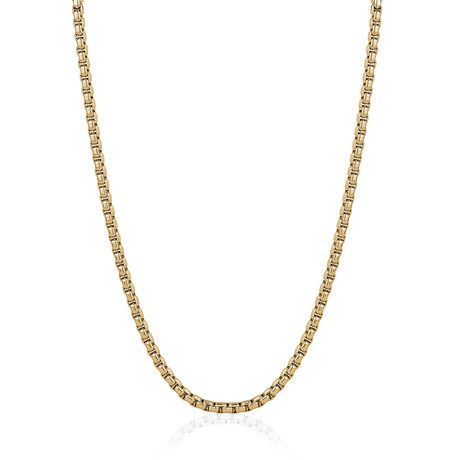 """Stainless Steel Polished Round Box Chain // Gold Plating (20"""")"""