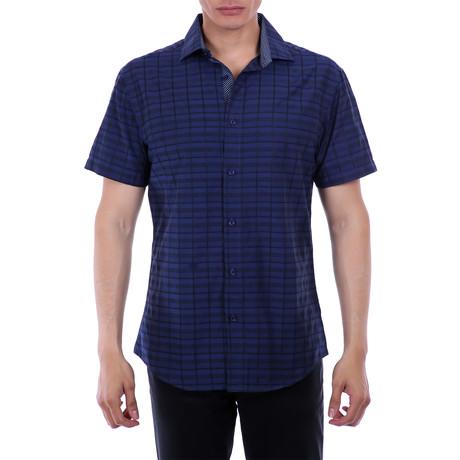 Derek Short Sleeve Button-Up Shirt // Navy (XS)