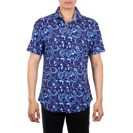 Weber Short-Sleeve Button-Up Shirt // Navy (XS)