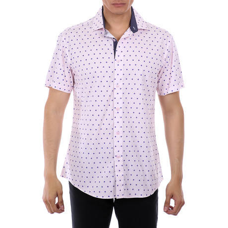 Cannon Short Sleeve Button-Up Shirt // Pink (XS)