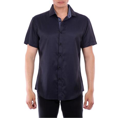 Marcus Short-Sleeve Button-Up Shirt // Navy (XS)