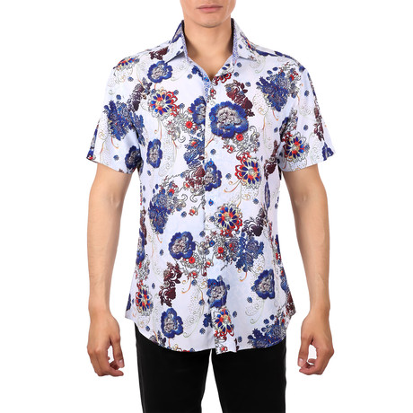 Floral Short Sleeve Button-Up Shirt // White (XS)