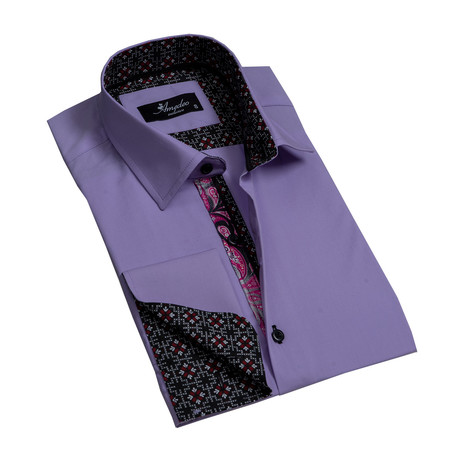 Reversible Cuff French Cuff Dress Shirt // Purple (S)