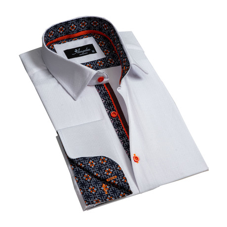 Amedeo Exclusive // Reversible Cuff French Cuff Dress Shirt // Textured White + Orange (S)