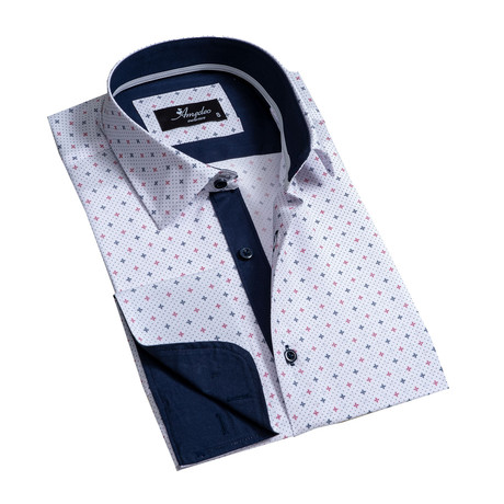 Reversible Cuff French Cuff Dress Shirt // Off White + Navy Blue (S)