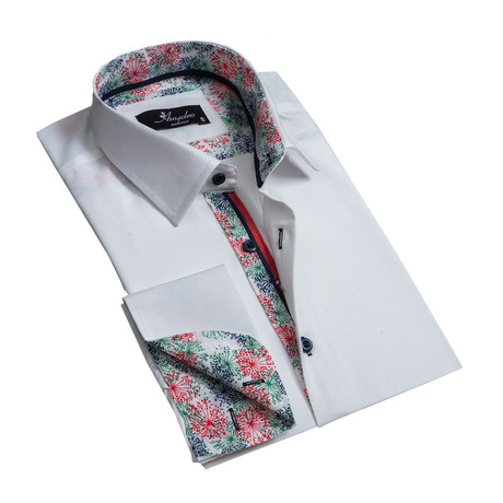 Reversible Cuff French Cuff Dress Shirt // Solid White (S)