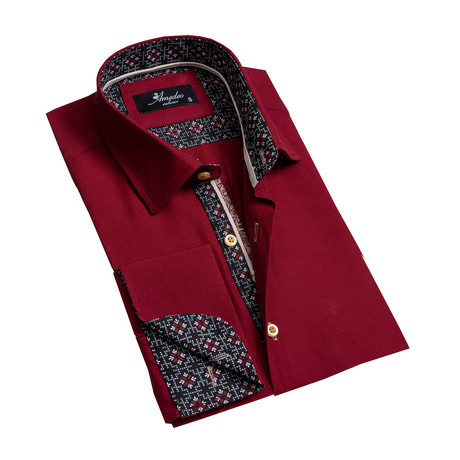 Reversible Cuff French Cuff Dress Shirt // Burgandy (S)
