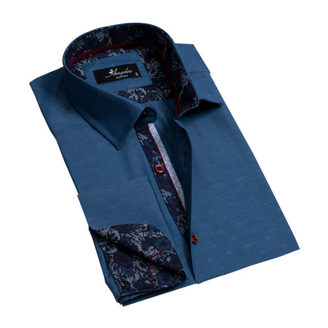 Reversible Cuff French Cuff Dress Shirt // Textured Dark Blue (S)