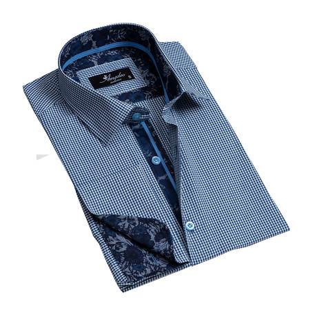 Reversible Cuff French Cuff Dress Shirt // Blue Checkered (S)