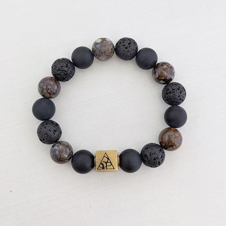 Opal + Agate + Lava Bead Bracelet // Blue + Black + Gold