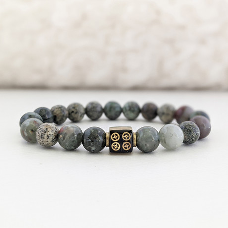African Bloodstone + African Turquoise Bead Bracelet // Olive + Brass