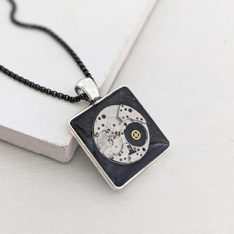Square Watch Mechanism Pendant Necklace // Silver + Black