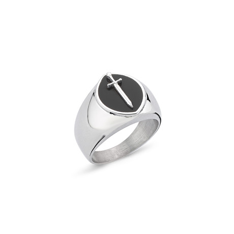 Knight Ring // White Gold Coating (Size 7)
