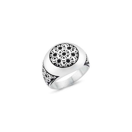Geometric Patterned Ring // Silver (8.5)