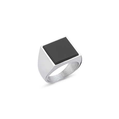 Onyx Large Square Stone Ring // White Gold Coating (8.5)