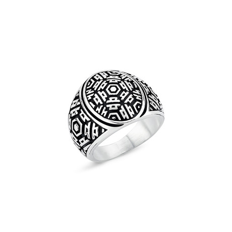 Aztec Patterned Ring // Silver (8.5)