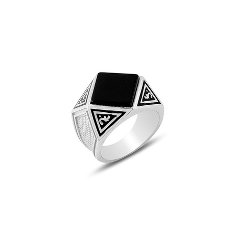 Onyx Stone Prism Ring // Silver (8)