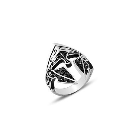 Sparta Helmet Ring // Black + Silver (8)