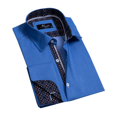 Reversible Cuff French Cuff Dress Shirt // Ocean Blue (S)