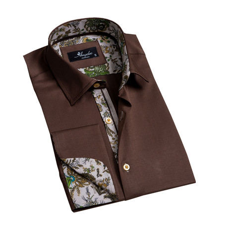 Reversible Cuff French Cuff Dress Shirt // Chocolate Brown (S)