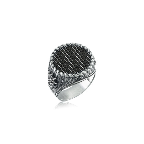 Black Zircon Ship Rudder Ring // Silver (8.5)