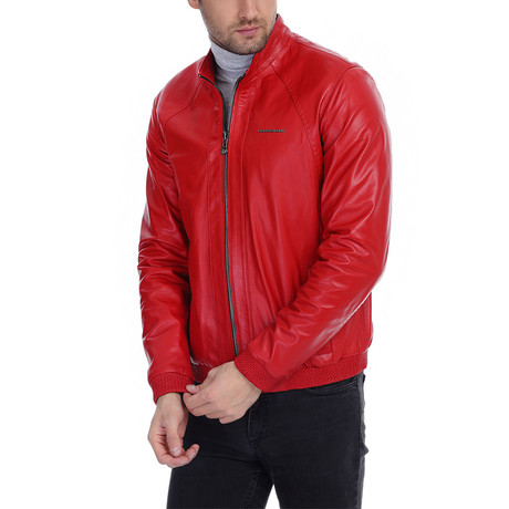 Rex Leather Jacket // Red (XS)