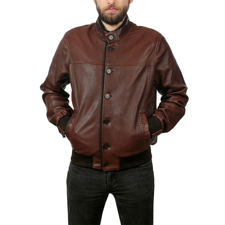 Monte Leather Jacket // Light Brown (XS)
